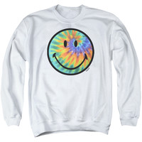 SMILEY WORLD/TIE DYE FACE-ADULT CREWNECK SWEATSHIRT-WHITE