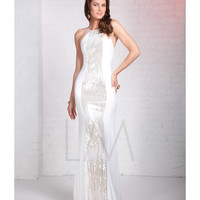 LM by Mignon CC310 White Sequin Open Back Sheath Dress 2015 Prom Dresses
