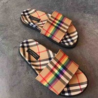 BURBERRY Fashion Women Retro Rainbow Shoe Sandals Slippers I