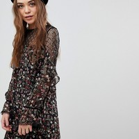 New Look Floral and Sequin Mesh Tunic Dress at asos.com