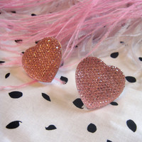 Great Big Pink Crystal Heart Stud Earrings by imyourpresent
