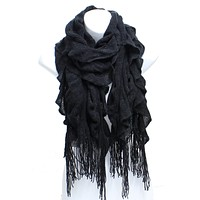 Womens Winter Knit Ruffle Black Scarf With Fringe