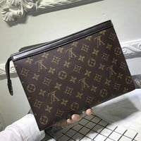 Tagre™ Louis Vuitton Woman Men Envelope Clutch Bag Leather File Bag Tote Handbag G