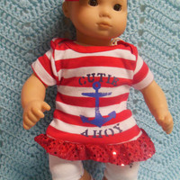 """AMERICAN girl Bitty Baby Clothes """"Another Cutie Ahoy!"""" (15 inch) doll outfit  dress shorts socks, headband nautical 4th of July patriotic"""