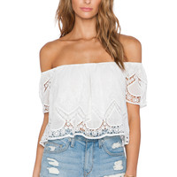 Lucy Paris Blushing Lace Crop Top in White