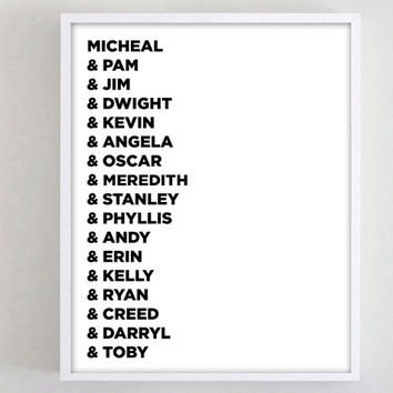 Print The Office Micheal Scott, Jim and Pam Poster, Black and White Typography Poster DIY Printable ron swanson leslie knope