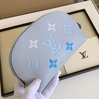 LV Louis Vuitton New Products Printed Letters Women's Clutch Cosmetic Bag Blue