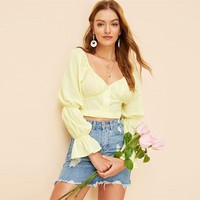 Yellow Gathered Sleeve Knot Back Jacquard Crop Top Sweetheart V Neck Slim Fit Glamorous Bishop Sleeve Women Blouses