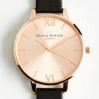 Luxe Undisputed Class Watch in Black Rose Gold - Big by Olivia Burton from ModCloth