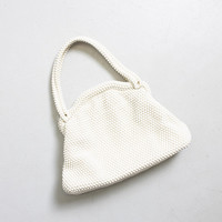 Vintage 1960s Purse - Ivory BEADED Floral Hand Bag 60s