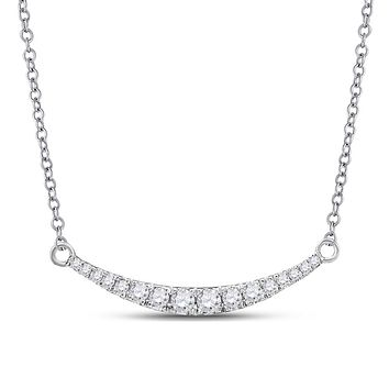 10k White Gold Round Diamond Curved Graduated Bar Pendant Necklace 1/4 Cttw