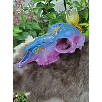 Hand painted purple celestial gold leaf authentic domestic female goat skull