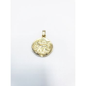 Round Double Side Face and Lion Pendant | 925 Sterling Silver Rose Gold,14K Gold,White Gold
