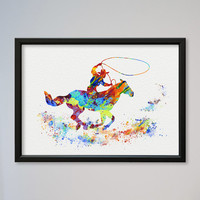 Cowboy Poster Watercolor Print Sport Rodeo Cowboy Lasso illustration Art Poster Kid's Room decor Giclee Wall Decor Wall Hanging