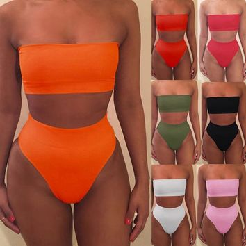 High Waisted Off Shoulder Solid Bikini Set