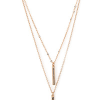FOREVER 21 Layered Bar Pendant Necklace Gold One