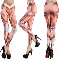 Fashion Women Sexy Seamless Stained Tattoo Leggings Muscle printing Leggings Faux Denim Slim Stretch Pants pencil pants tight pants Ladies outer wear leggings skinny pants feet pants ninth pants long pants Spring Summer Autumn Trousers = 1929997892