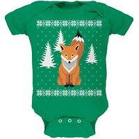 Big Fox Ugly Christmas Sweater Kelly Green Soft Baby One Piece
