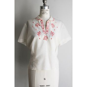 Vintage 1960s Embroidered Peasant Blouse