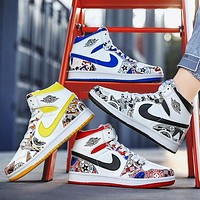 NIKE Air Jordan 1 AJ1 High tops New graffiti Contrast Basketball shoes blue red black