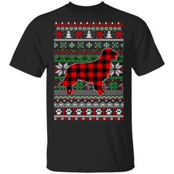 Golden Retriever Red Plaid Ugly Christmas Sweater Gifts