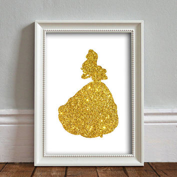 Belle, Beauty and the Beast Faux White Gold Sequin Art Print, Disney Princess, Wall Art, Nursery, Digital Poster Print, INSTANT DOWNLOAD
