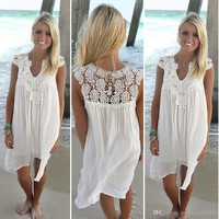 Boho Style Women Lace Dress Summer Loose Casual Beach Mini Swing Dress one piece playsuits Chiffon Bikini Cover Up Womens Clothing Sun Dress