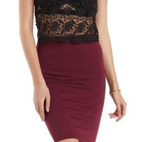 Wine Bodycon Pencil Skirt by Charlotte Russe