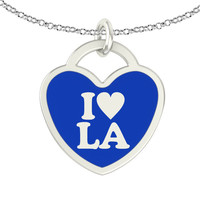 I Love Louisiana Sterling Silver Heart Necklace
