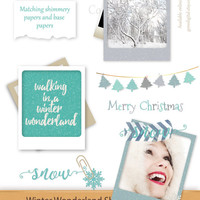 Winter Wonderland Shimmery Frame Clip Art Holiday Picture Printable Digital Scrapbook Photo Instant Download Card making Clipart Christmas