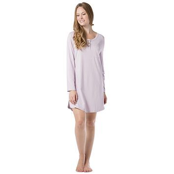 Women's EcoFabric™ & EcoFleece™ Above Knee Henley Nightshirt