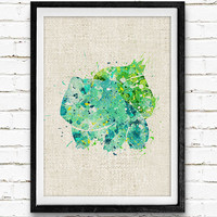 Bulbasaur Pokemon Watercolor Poster, Kids Watercolor Art Print, Boy's Room Wall Art, Kids Decor, Not Framed, Buy 2 Get 1 Free!