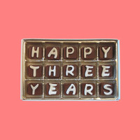 3rd Anniversary Gift Boyfriend Men BF Her Husband Wife Couple Happy 3 Years Cubic Chocolate Letters Three Third Romantic AK APO Canada