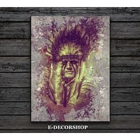 American Indian Canvas ART Print Native American Chief Canvas Painting home decor art print