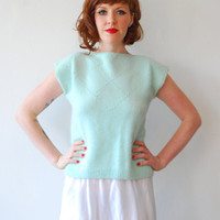 mint and pearl pullover s by CasaVintage on Etsy