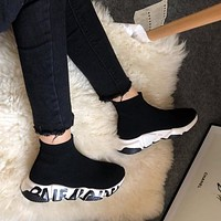 Balenciaga Speed knit Mid sneakers knitted print high-top socks set foot all-match jogging shoes
