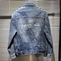BALENCIAGA Fashion Men Casual Print Long Sleeve Denim Cardigan Jacket Coat