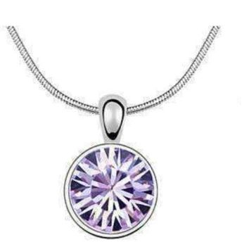 Round Lovely Lavender IOBI Crystals Necklace For Woman