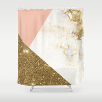 Gold marble collage Shower Curtain by cafelab