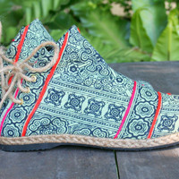 Womens Boots In Ethnic Hmong Seafoam Green Batik,  Vegan Ankle Boots - Amber