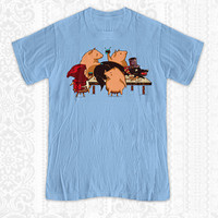 Dinner with Friends T-shirt - 100% Cotton. Mens, womens and kids sizes. Red Riding Hood and the 3 little pigs cook up a holiday feast...