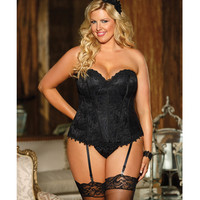 Lace & Satin Corset W-removable Garters & G-string Black 42