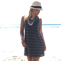 Black Sand Knit Shift Dress