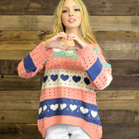 Heart Melter Pink Cut Out Sweater - One