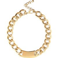 Gold tone curb chain tag necklace - necklaces - jewelry - women