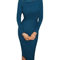 Senfloco Women's Vintage Casual Office Business Party Pencil Dress Long Sleeve