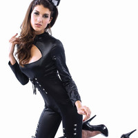 Black Bunny Long Sleeve Cut-Out with Tie Lace Accent Jumpsuit Costume