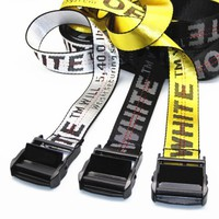 OFF Belt WHITE Women Men White+Black Word Belt-2