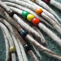 """Set of 3 Dread Beads Large 5/8"""" Medium Wooden Dreadlock Braid Accessories Wood 8mm Diameter Hole for Dreads Braids Mix and Match Colours"""