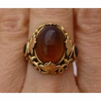 Oval Cabochon Citrine Ring 14K Yellow Gold -  Filagree Design